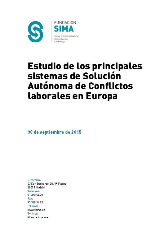 Principales sistemas de Solución Autónoma de Conflictos laborales en Europa