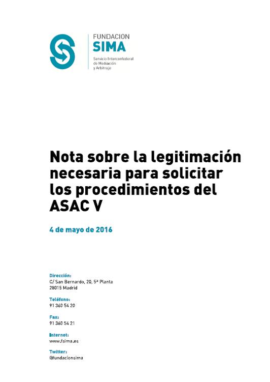 Portada Nota legislación procedmientos ASAC V